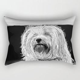 hairy havanese dog vector art black white Rectangular Pillow