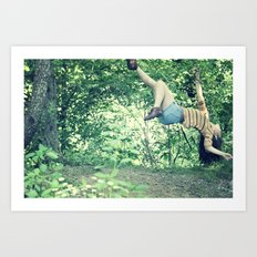 hanging on by a branch  Art Print