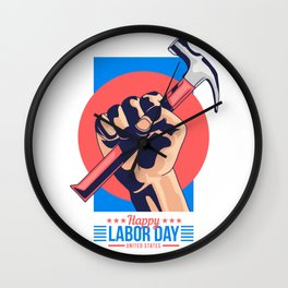 Happy Labour Day Wall Clock