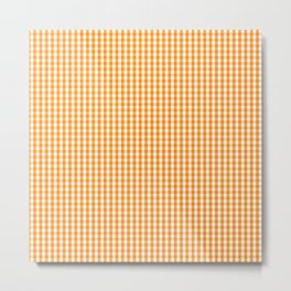 Pumpkin Orange and White Gingham Check Plaid Metal Print