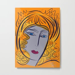 Orange purple pop girl portrait Metal Print