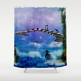 Music, piano with birds and butterflies Shower Curtain