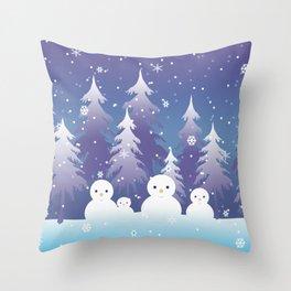 Wintry Forest Wonderland   Snowdrift Snow Family Throw Pillow
