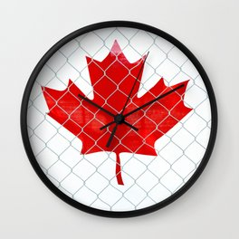 Rustic Canada Flag behind Chain Link Fence Wall Clock