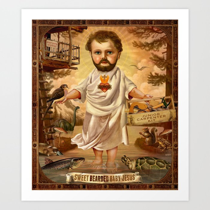 Sweet Bearded Baby Jesus Art Print
