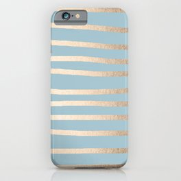 Abstract Drawn Stripes Gold Tropical Ocean Sea Blue iPhone Case