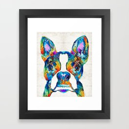 Colorful Boston Terrier Dog Pop Art - Sharon Cummings Framed Art Print