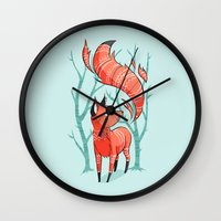 large Wall Clocks featuring Winter Fox by Freeminds