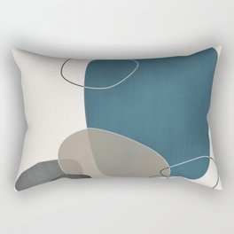 Abstract Glimpses in Aqua and Taupe Rectangular Pillow