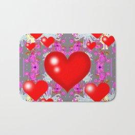 Red Hearts Valentines & Grey-Purple Art Patterns Bath Mat