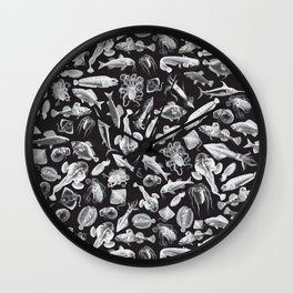 Aquatic I: White on Black Wall Clock