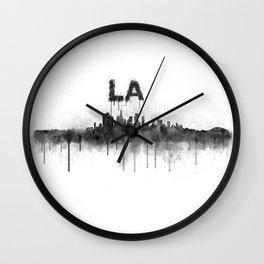 Los Angeles City Skyline HQ v5 BW Wall Clock