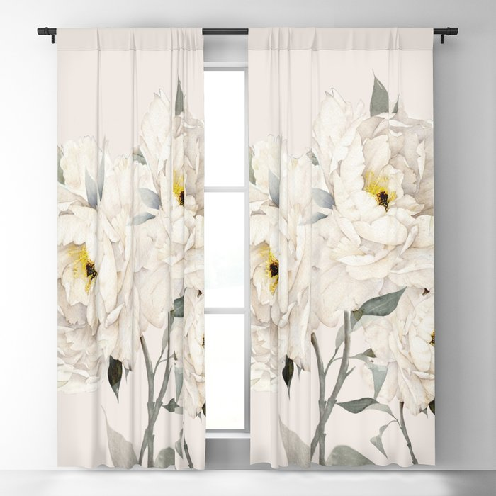 White Peonies Blackout Curtain