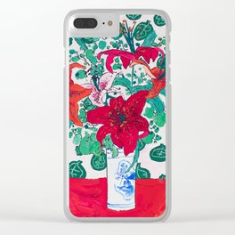 Tropical Lily Bouquet in Delft Vase with Matisse Leaf Cutout Background Clear iPhone Case