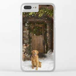 Dog and snow Clear iPhone Case