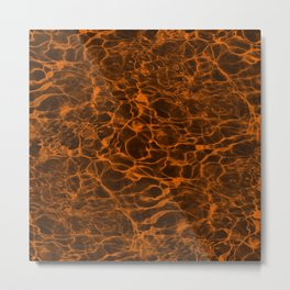 Neon Orange Underwater Wavy Rippling Water Cloudy Flaming Smoke Smokey Water Metal Print