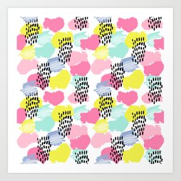 Bright happy painted pattern nursery baby gifts black and white spring summer home decor Art Print