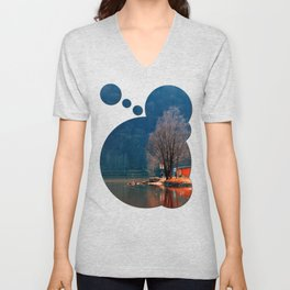 Gone fishing | waterscape photography Unisex V-Neck