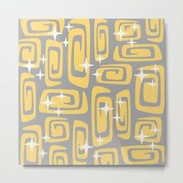 Mid Century Modern Cosmic Galaxies 434 Yellow and Gray Metal Print
