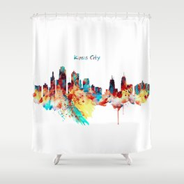 Kansas City Skyline Silhouette Shower Curtain