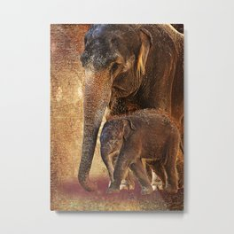 Asian Mother Elephant with Baby Metal Print