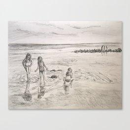 Girls Beach Day Art Drawing Canvas Print