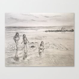 Girls Beach Day Art Drawing Canvas Print