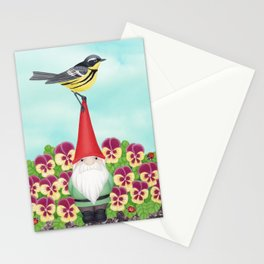gnome with magnolia warbler and pansies Stationery Cards