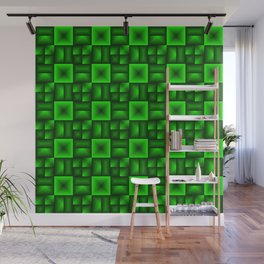 Convex rhombuses of green squares with dark rectangles. Wall Mural