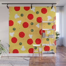 Cool fun pizza pepperoni mushroom Wall Mural