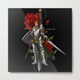 Strong Female Knight | Rose and Dagger Metal Print