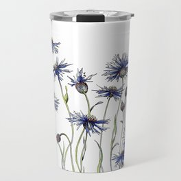 Blue Cornflowers, Illustration Travel Mug