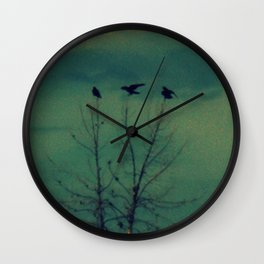 Ravens Come Gathering in a Soft Turquoise Sky Wall Clock