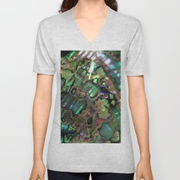 Oil Slick Abalone Mother Of Pearl Unisex V-Neck