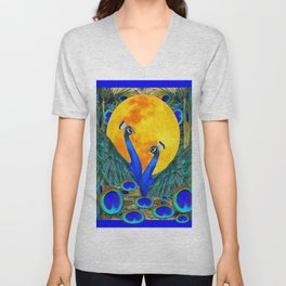 FULL GOLDEN MOON BLUE PEACOCK  FANTASY ART Unisex V-Neck