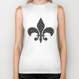FLEUR DE LIS WHITE ON BLACK Biker Tank
