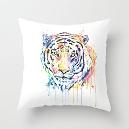Tiger - Rainbow Tiger - Colorful Watercolor Painting Throw Pillow
