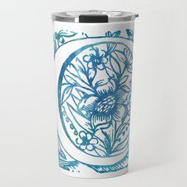 Letter C Antique Floral Letterpress Monogram Travel Mug