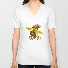 California bear with bicycle and surfboard for surfers Unisex V-Neck