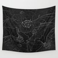 bat Wall Tapestries featuring Bat Attack by 7115