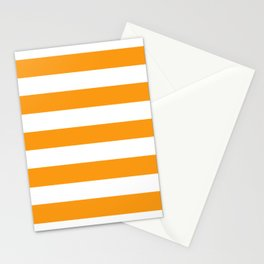 Kumquat - solid color - white stripes pattern Stationery Cards