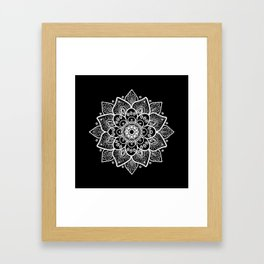White Mandala On Black Framed Art Print