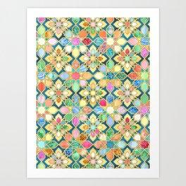 Gilded Moroccan Mosaic Tiles Art Print