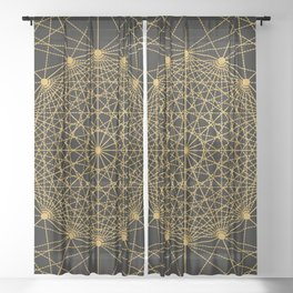 Geometric Circle Black and Gold Sheer Curtain