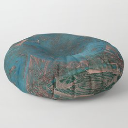 Rose gold and teal antique world map with sail ships Floor Pillow