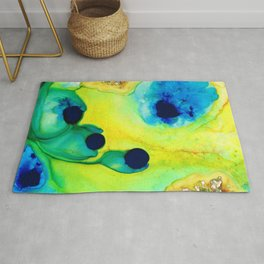 New Life - Green and Blue Art by Sharon Cummings Rug