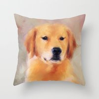 golden retriever Throw Pillows featuring Golden Retriever by Jai Johnson