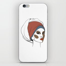 African American woman in headscarf with makeup. Abstract face. Fashion illustration iPhone Skin