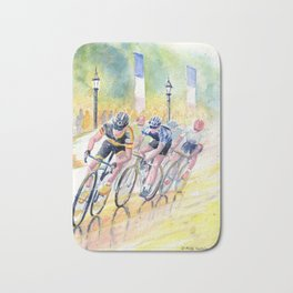 Colorful Bike Race Art Bath Mat