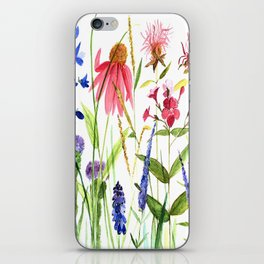 Botanical Colorful Flower Wildflower Watercolor Illustration iPhone Skin